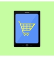Flat style touch pad with shopping cart vector