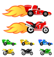 Race car and motorcycle vector