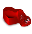 Heart shape present opened box vector