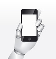 Robot hand hold smartphone design concept vector