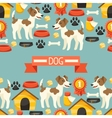 Seamless pattern with cute dogs icons and objects vector