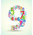 Number 9 colored font from numbers vector