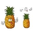 Happy cartoon pineapple fruit waving a hand vector
