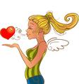 Valentines day girl sending heart vector