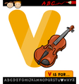 Letter v with violin cartoon vector