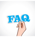 Faq word in hand vector