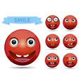 Isolated funny red circle glossy emoticon smiley vector