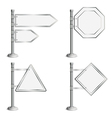 Set poles with traffic signs vector