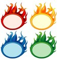 Fire oval banners vector