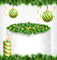 Candle with holly pine christmas balls and frame vector