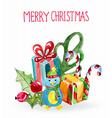 Watercolor beautiful christmas card with penguin vector