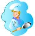 Cook professionin a frying pan vector
