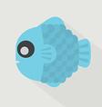Flat design blue fish icon vector