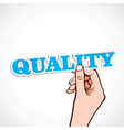Quality word in hand vector
