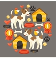 Set of icons and objects with cute dogs vector