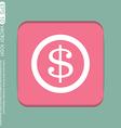 Dollar coin symbol of money vector