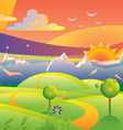 sunset landscape vector illustration vector