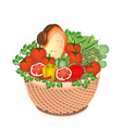 Health and nutrition vegetable and food in basket vector