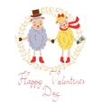 Happy valentines day with cute sheeps couple vector
