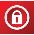 Locked icon on red vector