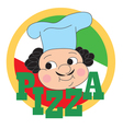 Pizza chef label vector