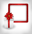 Gift box with poinsettia and frame on grayscale vector