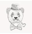 Sketch panda face with black bowler hat bow tie vector