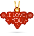 I love you text label tag hanging on golden chain vector