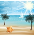 Tropical paradise beach with starfish vector