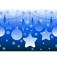 Christmas seamless horizontal blue pattern vector