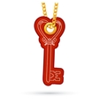 Heart shaped key label tag hanging on golden chain vector