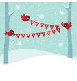 Birds cardinal hold a christmas garland vector
