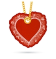 Heart with roses label tag hanging on golden chain vector