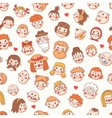 Funny cartoon faces seamless pattern vector