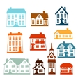 Town icon set of cute colorful houses vector