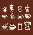 Coffee tea and drinks icons set vector