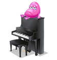 A monster crying above the piano vector