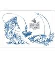 Fisherman and fish - vintage vector