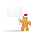 Gingerbread man with blank gift tag and santa hat vector