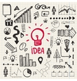 Hand drawn doodle business idea set vector