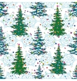 Seamless pattern christmas trees and snowflakes vector