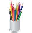Pencils in a pen cup vector