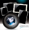 Camera lens with old photo frames vector
