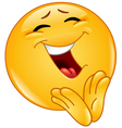 Clapping cheerful emoticon vector