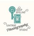 Vintage camera photography studio label vector