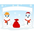 Two snow persons vector