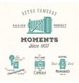 Retro camera photography set labels or vector
