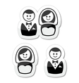 Married couple labels - groom and bride vector