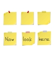 Yellow post it notes isolated on white background vector