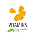 Logo in orange slice vitamins vector